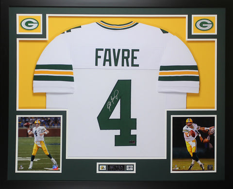 Brett Favre Autographed and Framed White Packers Jersey Auto Favre COA D11-L