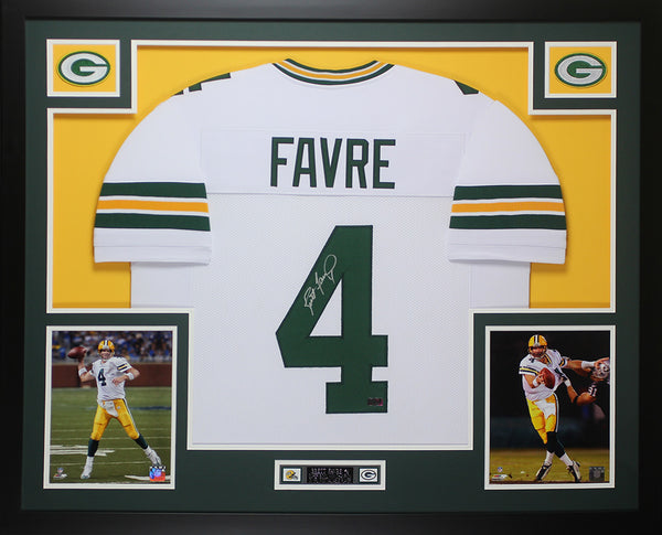 Brett Favre Autographed And Framed White Packers Jersey Auto Favre