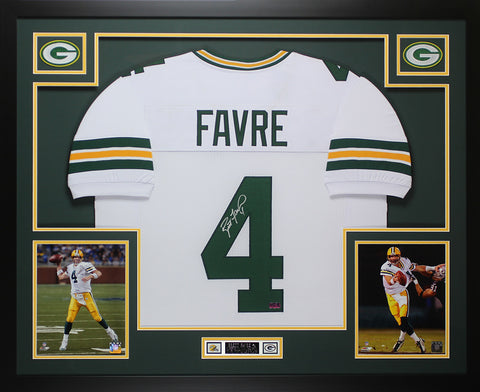 Brett Favre Autographed and Framed White Packers Jersey Auto Favre COA D12-L