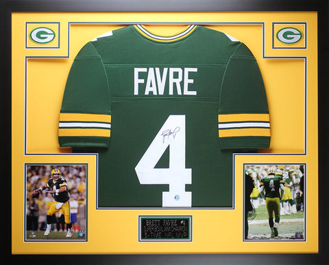 Brett Favre Autographed and Framed Packers Jersey Favre COA (D2-3)