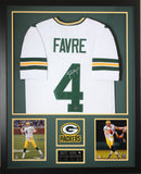 Brett Favre Autographed and Framed White Packers Jersey Auto Favre COA (D1-V)