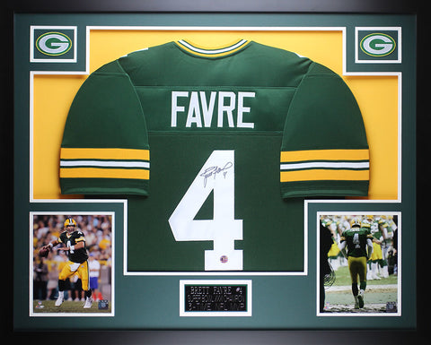 Brett Favre Autographed and Framed Green Packers Jersey Favre COA (D1-3)
