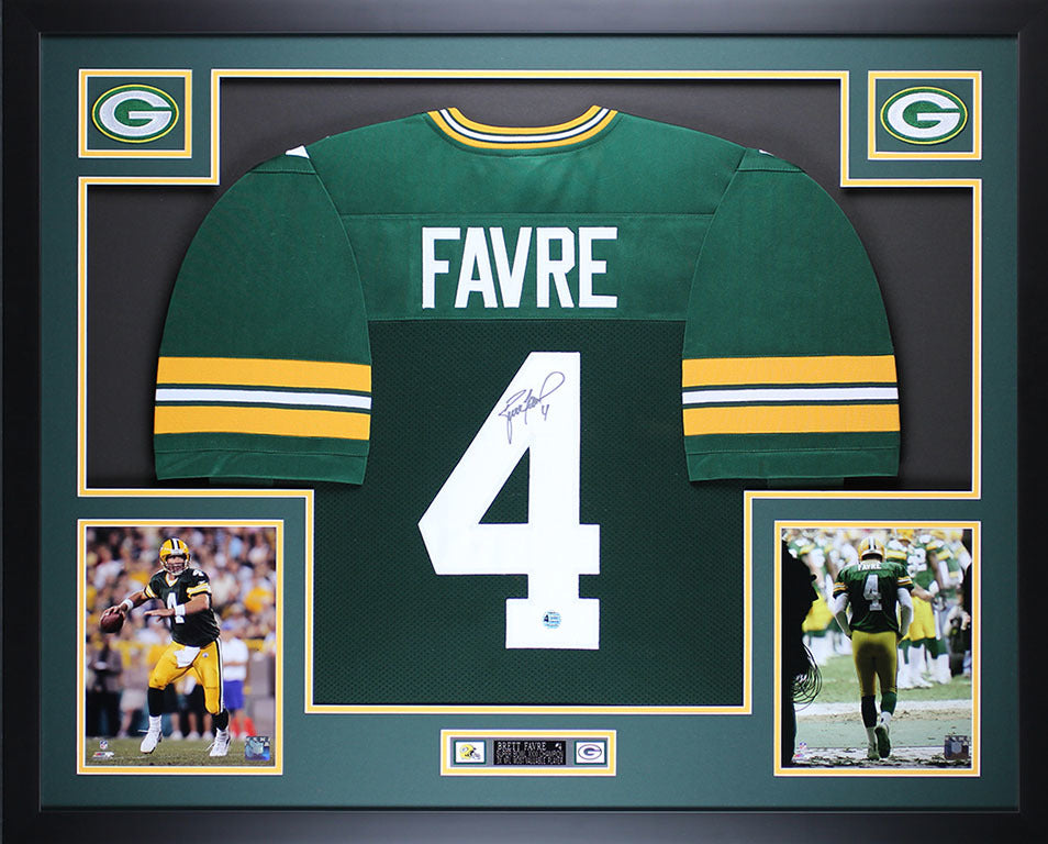 4497c27a031 Brett Favre Autographed and Framed Green Packers Jersey Auto Favre COA –  Super Sports Center