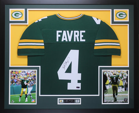 Brett Favre Autographed and Framed Green Packers Jersey Auto Favre COA D13-L
