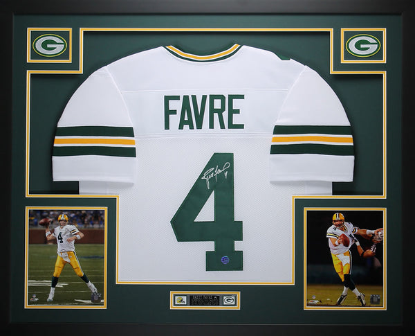 Brett Favre Autographed and Framed White Packers Jersey Auto Favre COA (D2-L)