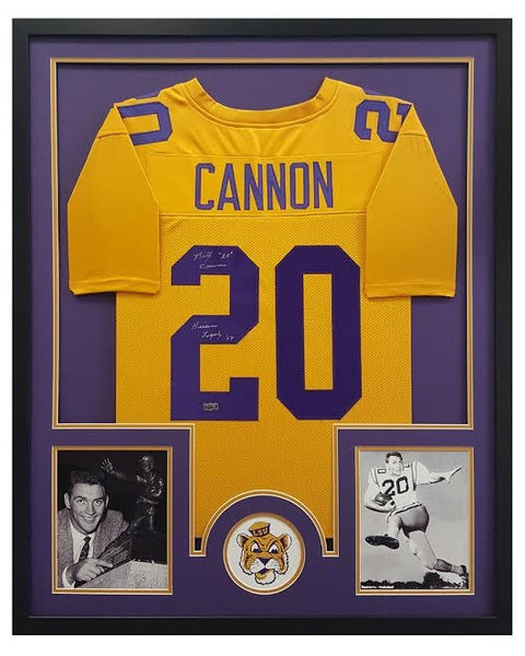 Billy Cannon Signed LSU Tigers Custom Framed Yellow Jersey