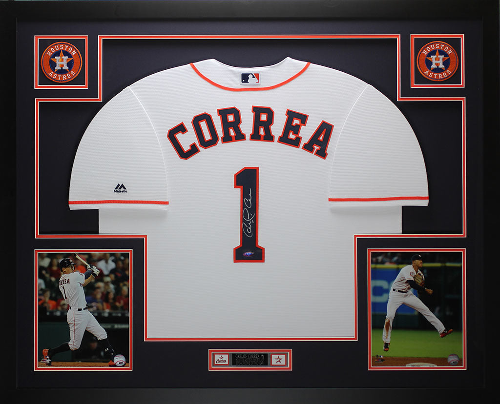 new product ba094 ad1b3 Carlos Correa Autographed and Framed White Astros Jersey Auto Tristar COA  D1-L
