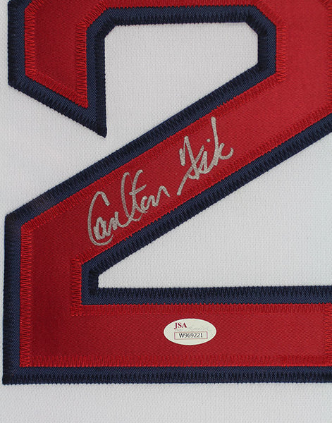 eef23fc67 Carlton Fisk Autographed & Framed White Red Sox Jersey Auto JSA COA ...