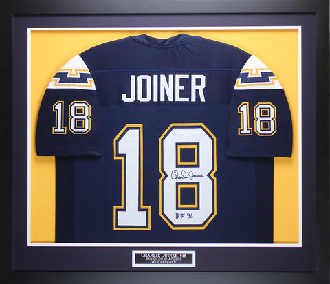 Charlie Joiner Autographed & Framed Navy San Diego Chargers Jersey JSA COA D1-M