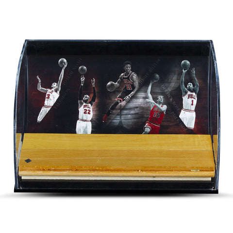 "Chicago Bulls ""Defenders of the Hardwood"" Game Used Floor Piece Curve Display Case"