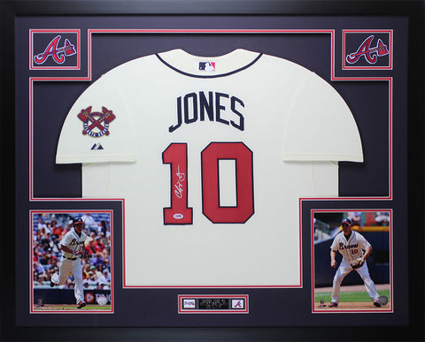 Chipper Jones Autographed & Framed Cream Braves Jersey PSA COA (D1-L)