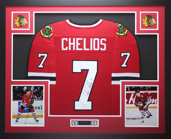 Chris Chelios Autographed and Framed Red Blackhawks Jersey Auto JSA COA D1-L