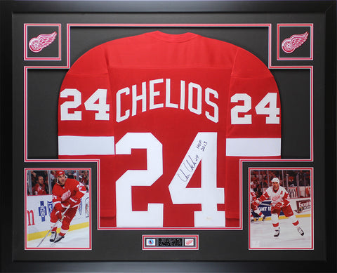Chris Chelios Autographed & Framed Red Redwings Jersey JSA COA D1-L