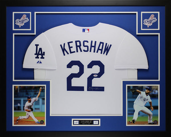 Clayton Kershaw Autographed and Framed White Dodgers Jersey Auto PSA ...