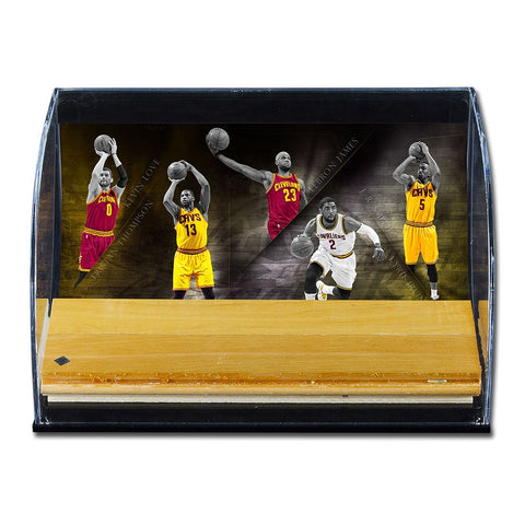 Cleveland Cavaliers 2016-17 Defenders of the Hardwood Game-Used Floor Piece Curve Display Case
