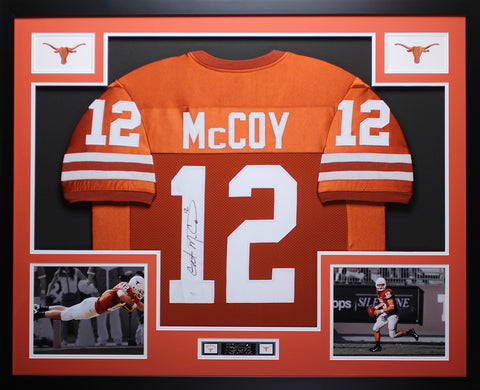 Colt McCoy Autographed Framed Orange Longhorns Jersey JSA COA