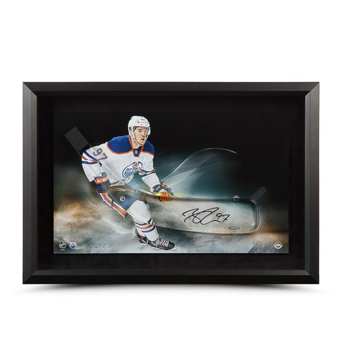 Connor McDavid Autographed Acrylic Stick Blade with Edmonton Oilers Picture - Framed