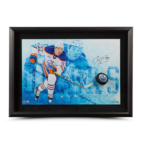 "Connor McDavid Autographed ""Commanding"" Breaking Through"