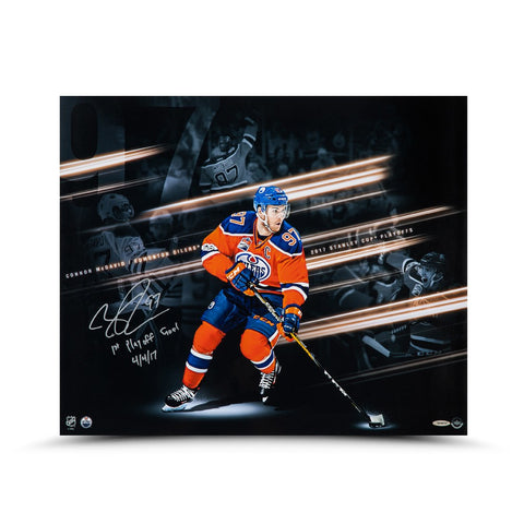 "Connor McDavid Autographed & Inscribed ""Playoff Collage"" 20 x 24"