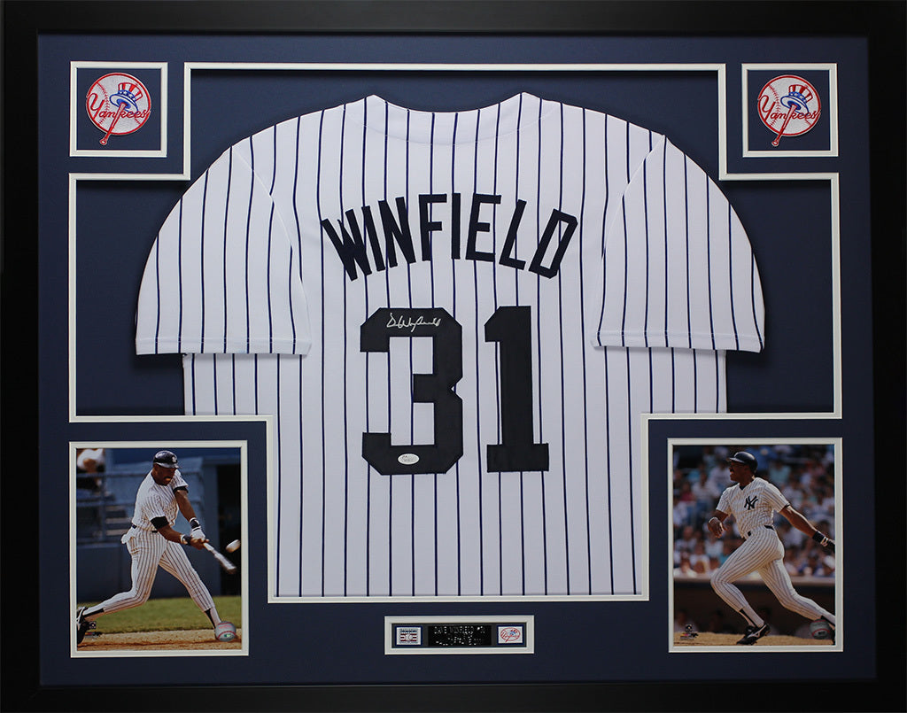 more photos 3873c eeb7b Dave Winfield Autographed and Framed Yankees White Pinstriped Jersey JSA COA