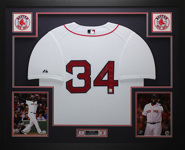 David Ortiz Autographed & Framed White Red Sox Jersey Auto Fanatics COA D1-L