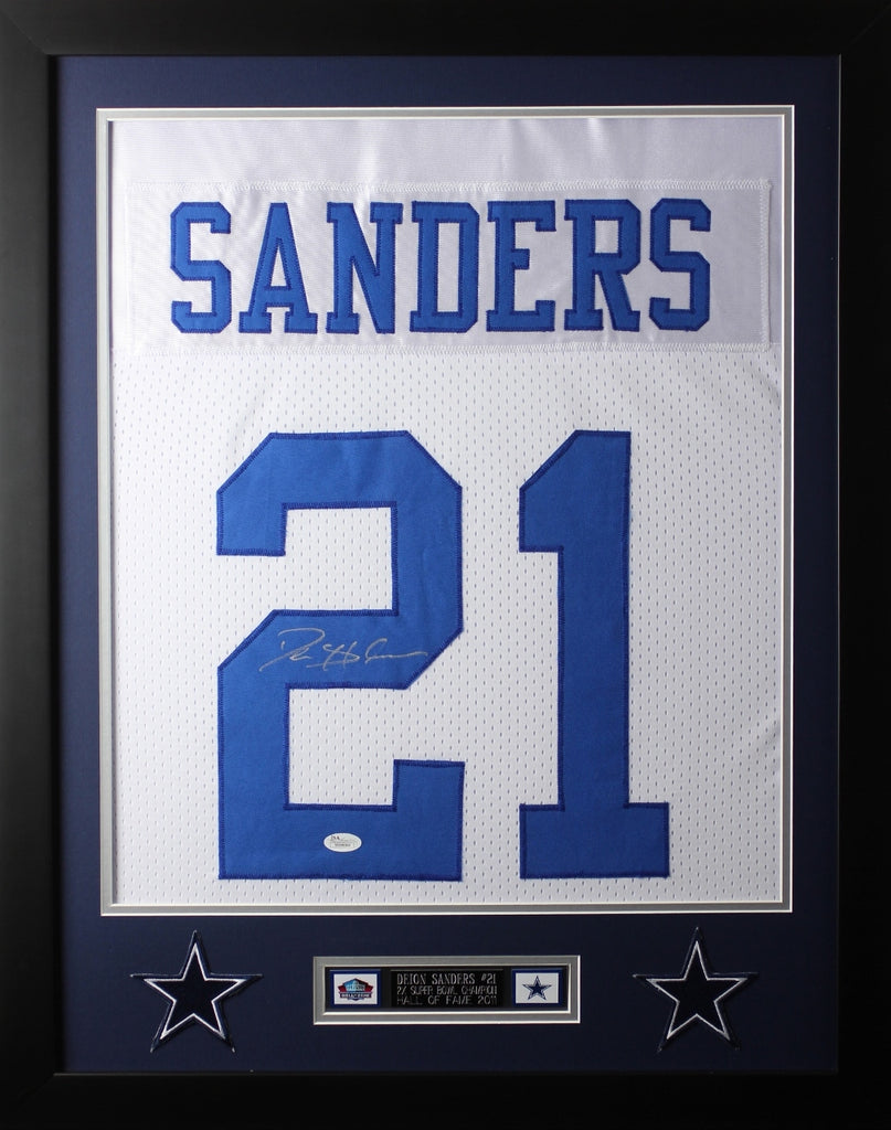 pick up 095e2 b7b25 Deion Sanders Framed and Autographed White Cowboys Jersey Auto JSA Certified