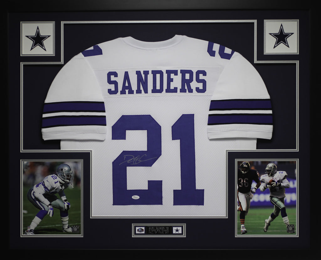 promo code 3ae14 d3fc1 Deion Sanders Autographed and Framed White Cowboys Jersey Auto JSA Certified