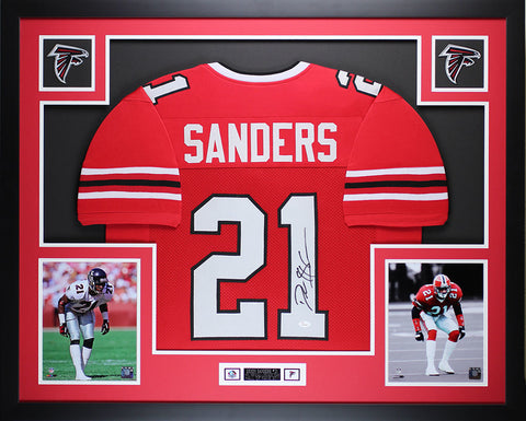 Deion Sanders Autographed & Framed Red Falcons Jersey Auto JSA COA