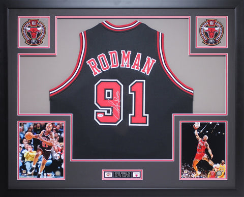 Dennis Rodman Autographed and Framed Black Bulls Jersey Auto PSA Certified