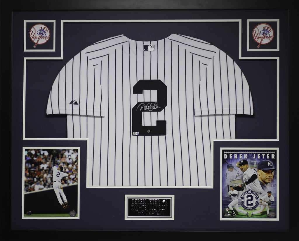 b7b3243a2da Derek Jeter Autographed and Framed White Pinstriped Jersey Steiner COA –  Super Sports Center