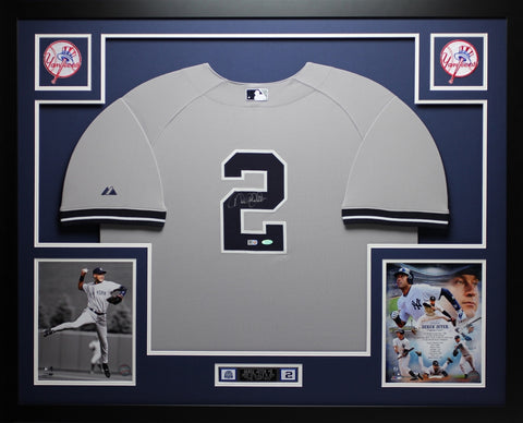 Derek Jeter Autographed and Framed Gray Yankees Jersey Auto Steiner Certfied