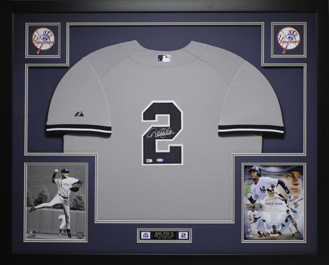 Derek Jeter Autographed and Framed Gray Yankees Jersey Steiner Certified