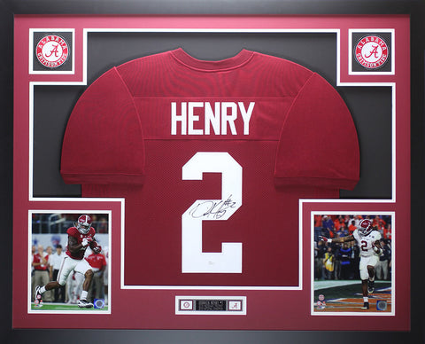 Derrick Henry Autographed and Framed Maroon Alabama Jersey Auto JSA COA D1-L