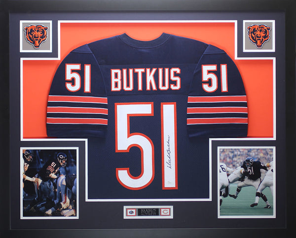 Dick Butkus Autographed and Framed Blue Bears Jersey Auto JSA COA D7-L