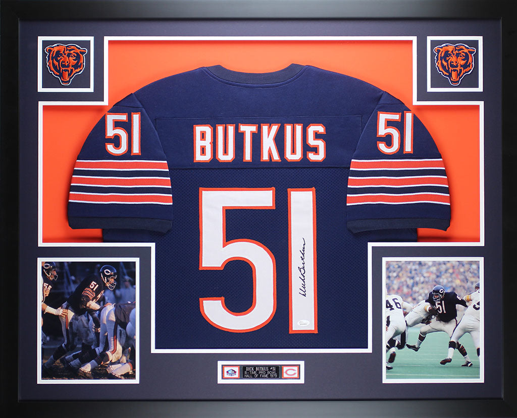 e8858d1cb32 Dick Butkus Autographed and Framed Navy Bears Jersey Auto JSA COA – Super  Sports Center