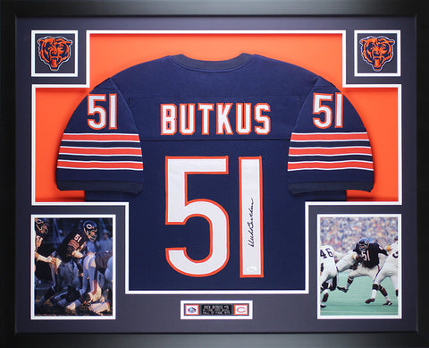 Dick Butkus Autographed and Framed Navy Bears Jersey Auto JSA COA