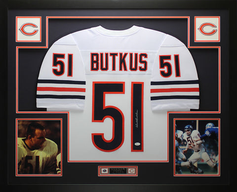 Dick Butkus Autographed and Framed White Bears Jersey Auto JSA COA D6-L