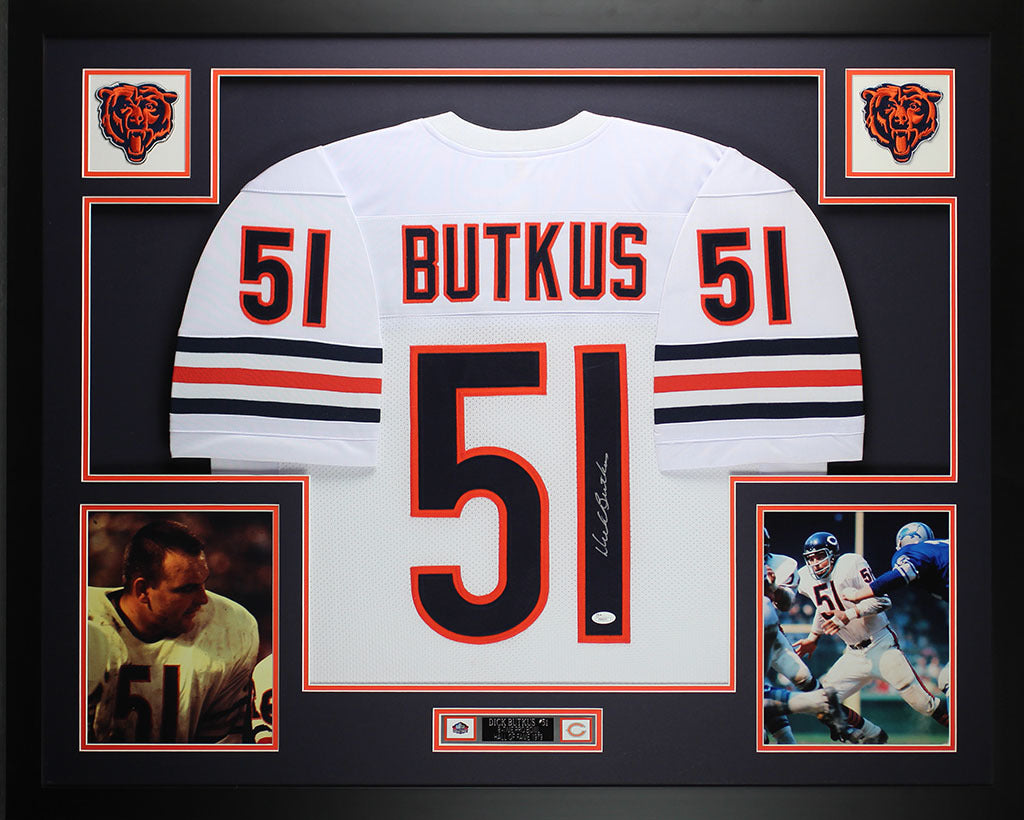 3f11c27c2a6 Dick Butkus Autographed and Framed White Bears Jersey Auto JSA COA D5- –  Super Sports Center