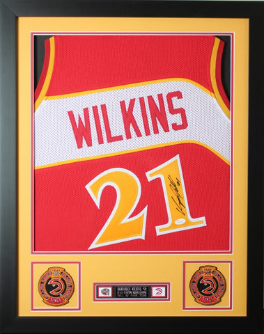 "Dominique Wilkins Autographed and Framed Red Hawks Jersey Auto JSA Certified (24""x30"")"