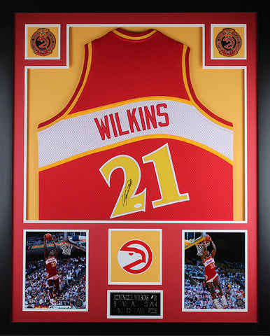 Dominique Wilkins Autographed & Framed Red Hawks Jersey Auto JSA Certified (Vert)