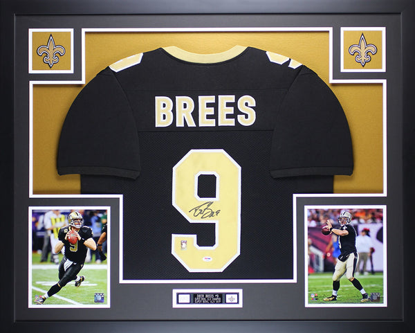 Drew Brees Autographed and Framed Black Saints Jersey Auto PSA COA (D5-L)