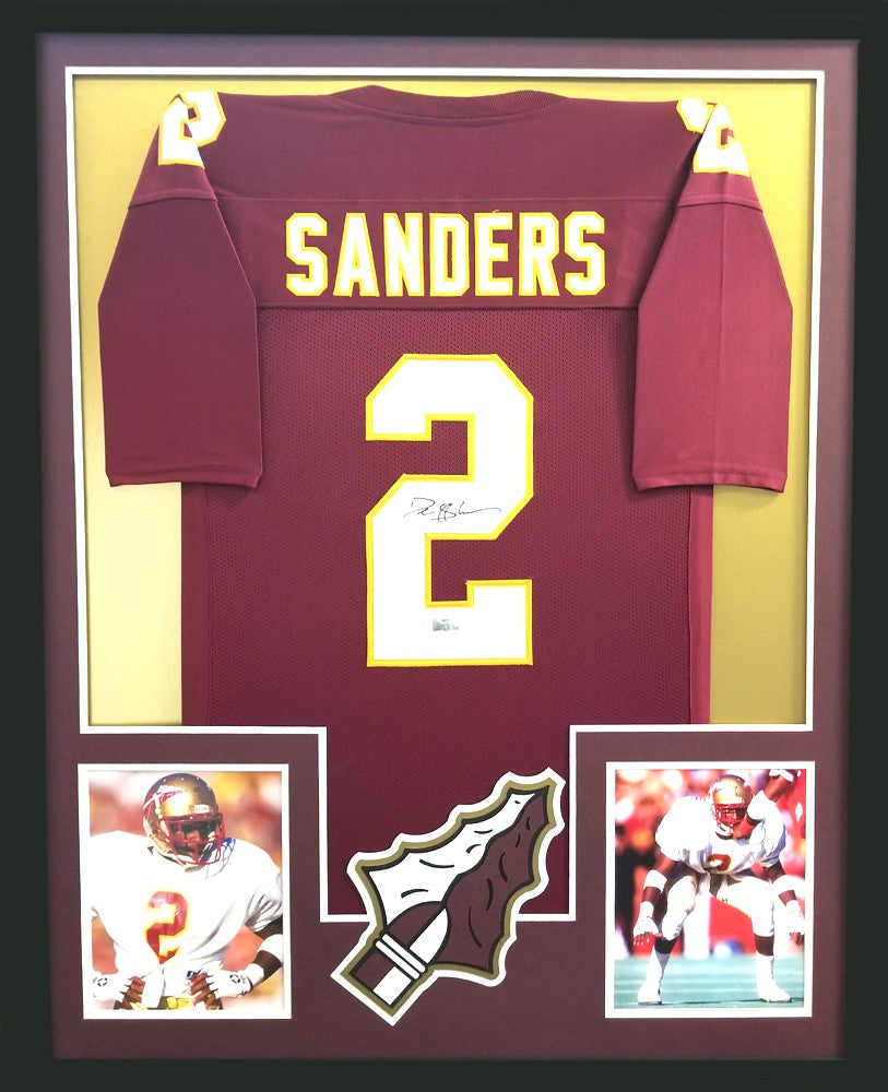the best attitude 0e00c 56d15 Deion Sanders Signed Florida State Seminoles Framed Maroon Custom Jersey