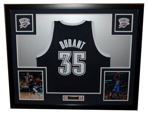 5446536eb Kevin Durant Autographed and Framed Alt Blue Thunder Adidas Jersey Panini  Certified