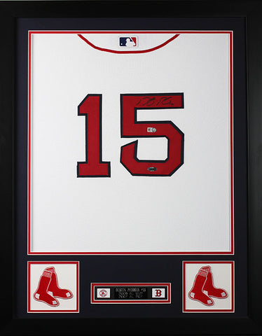 05c3a03b971 Dustin Pedroia Autographed   Framed White Red Sox Jersey Auto Steiner COA  ...