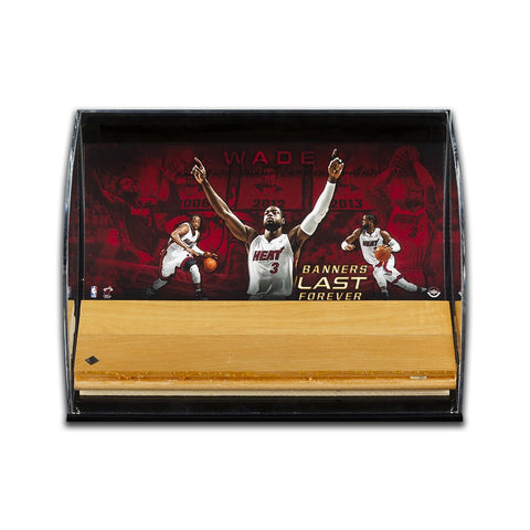 Dwyane Wade Banners Last Forever Game Used Floor