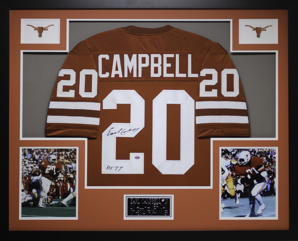 check out bf392 c3f3b Earl Campbell Autographed HT 77 and Framed Orange Longhorns Jersey GTSM COA  D1-3