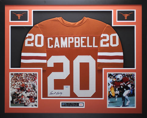 Earl Campbell Autographed and Framed Orange Longhorns Jersey Tristar COA D15