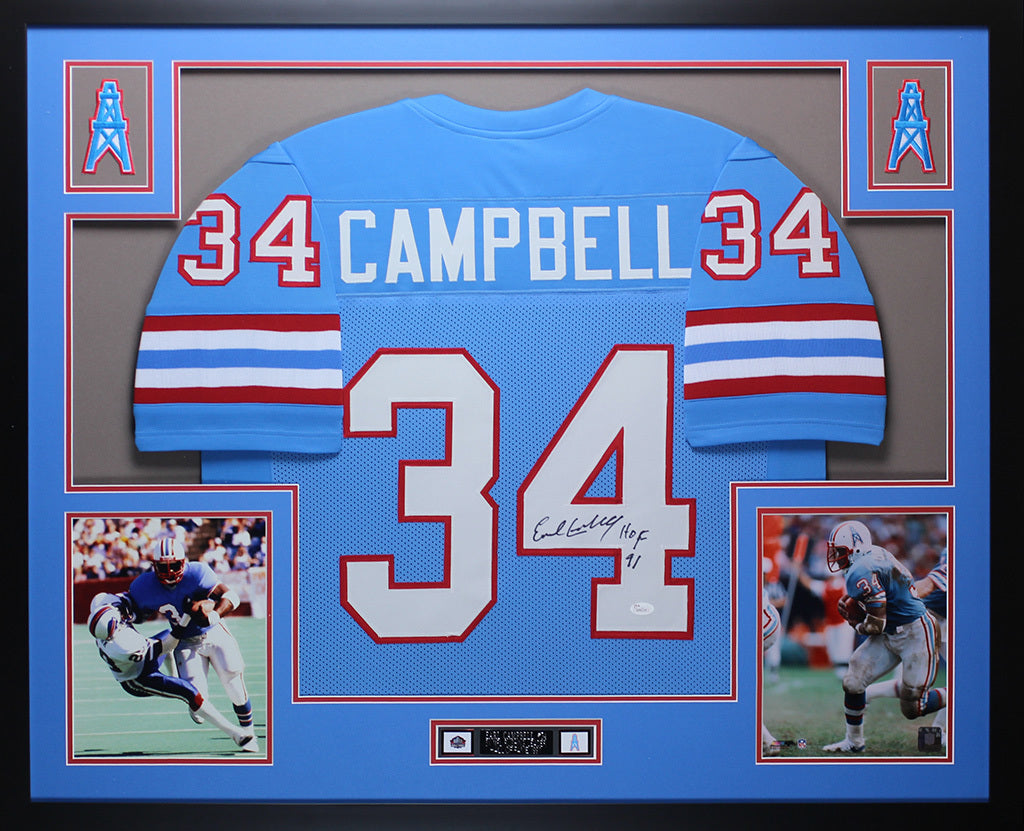 5f70a99d0 Earl Campbell Autographed HOF 91 and Framed Blue Oilers Jersey Auto JS –  Super Sports Center