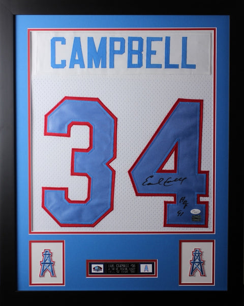 Earl Campbell Framed and Autographed White Oilers Jersey Auto JSA Certified