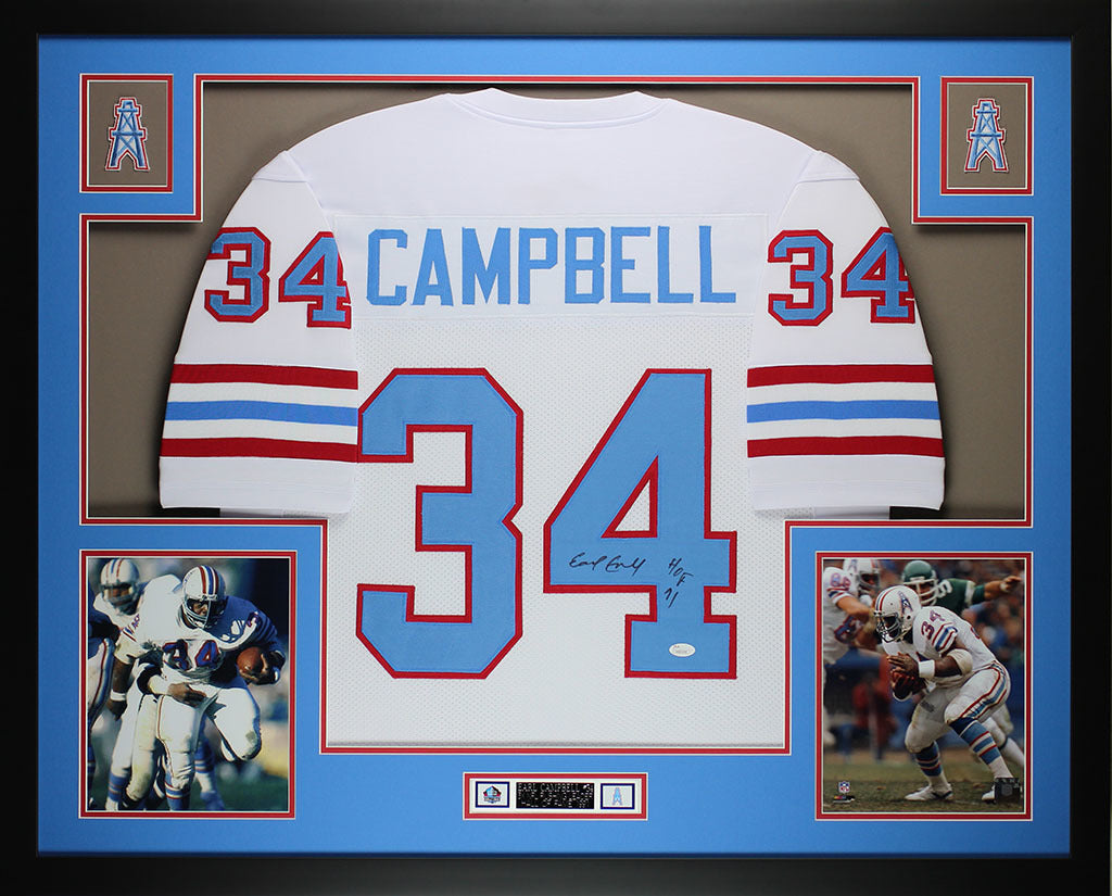 341cc4ef2 Earl Campbell Autographed HOF 91 and Framed White Oilers Jersey JSA CO –  Super Sports Center